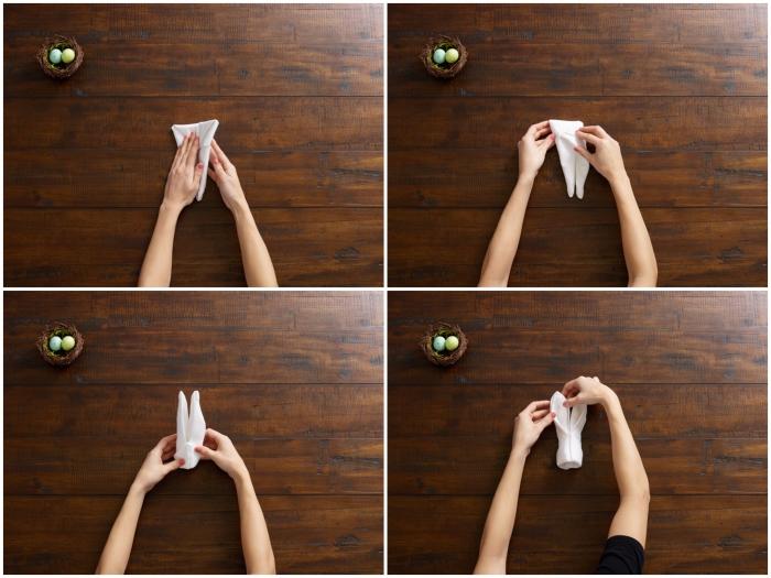 technique de pliage origami paques facile en forme de lapin de pâques, tuto pas à pas en images pour plier une seviette en lapin