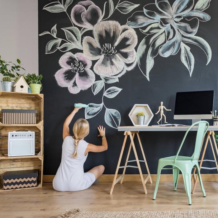 quel enduit à effet pour la chambre d'enfant, exemple décoration murale à effet craie noir, exemple peinture à texture ardoise