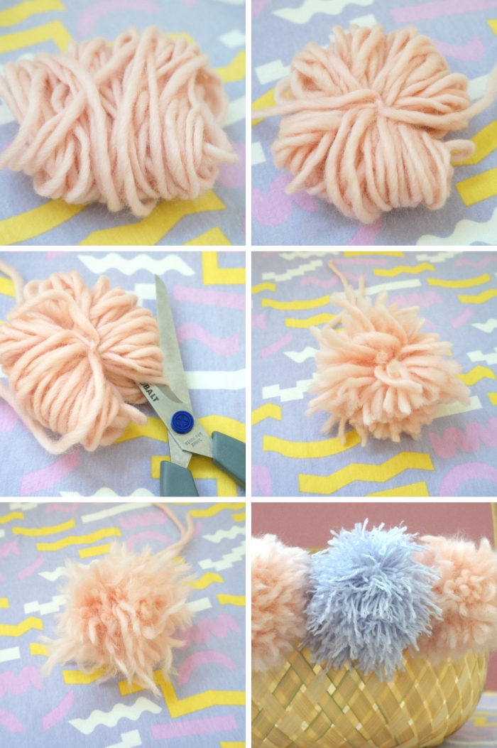 réalisation pompon en laine, tuto pompon en laine, idée activité paques maternelle, personnaliser un panier avec boules en laine