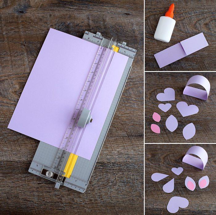 comment faire un lapin de paques en papier violet en découpant des éléments en papier, tuto etape par etape