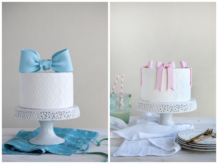deco pate a sucre pour sublimer un gâteau d'anniversaire, deux façons de réaliser un noeud ruban en pâte à sucre