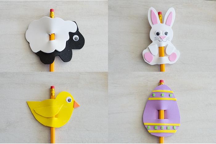 decoration crayon en mousse, bricolage de paques, oeuf de paques, brebis, poussin, lapin de paques, activité printemps