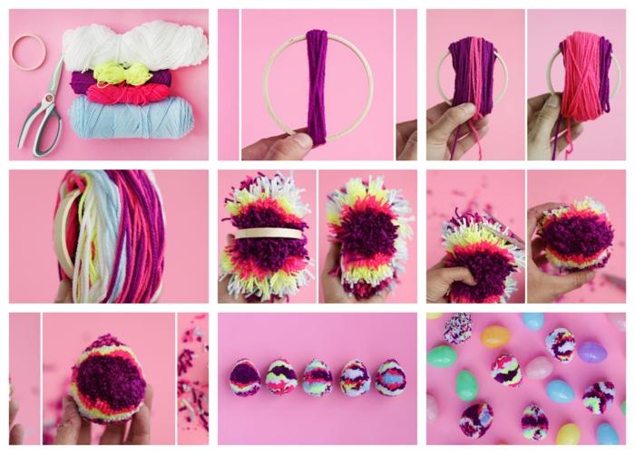 pompons multicolores taillés en forme d'oeufs, fils colorés et cerceau à broder, decoration paques facile