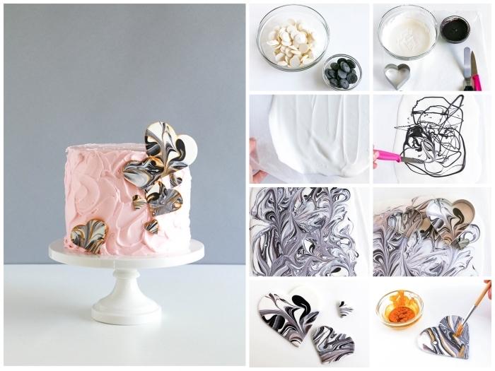 décoration gâteau d'anniversaire de petits coeurs à effet marbre réalisés en chocolat fondu
