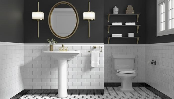 amenagement toilettes noir et blanc, miroir oval cadre, vasque pied, étagères murales, carreaux métro blancs