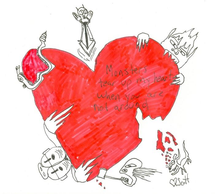 coeur rouge rongé par des monstres, exemple de dessin a faire soi meme graphique et rouge, image originale saint valentin