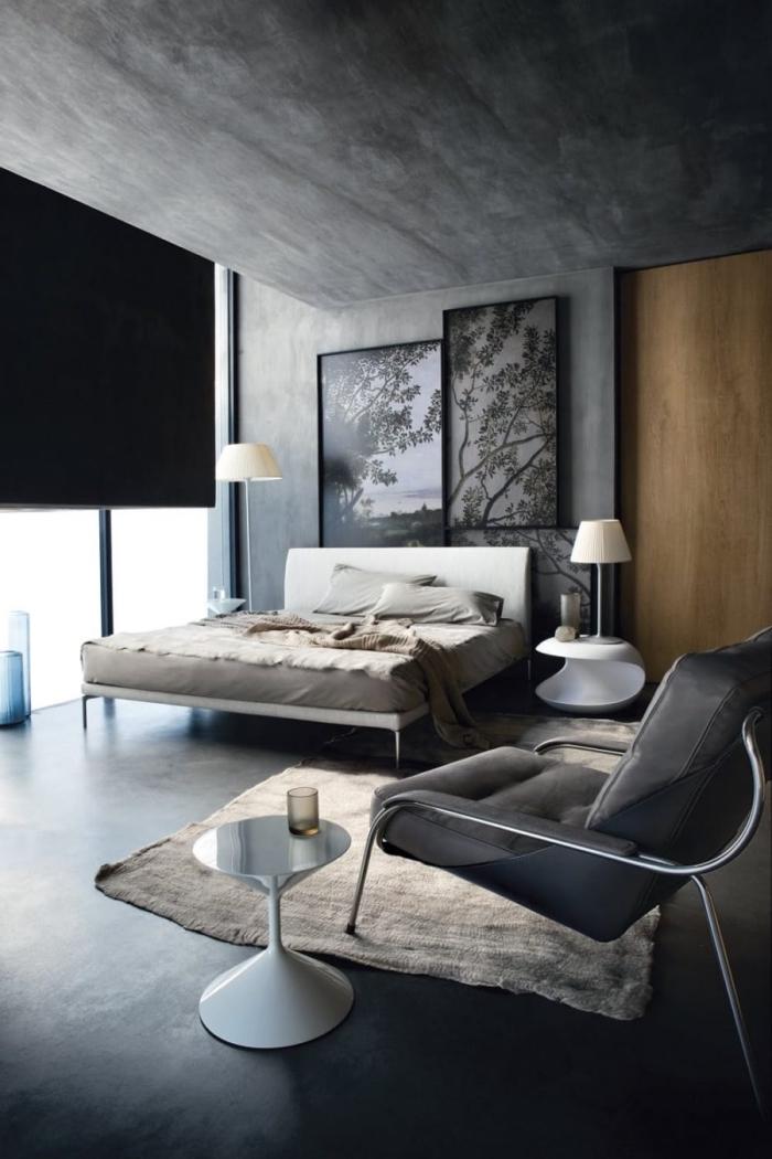 comment décorer une chambre à coucher masculine, exemple design intérieur moderne avec murs à effet béton
