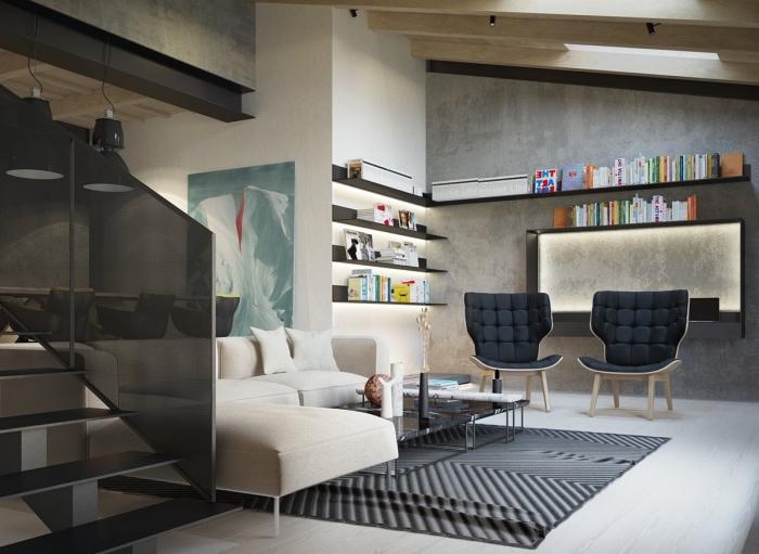 style industriel dans un appartement aux murs effet béton, idée quelle peinture pour salon gris et bois, enduit à texture béton