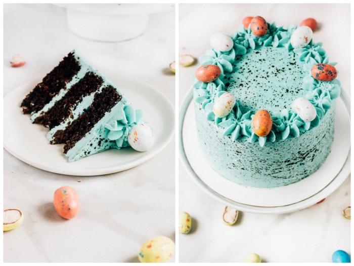 gateau de paques au chocolat facile recouvert de glaçage vert menthe à l'eau tacheté avec une jolie décoration de petits œufs en chocolat