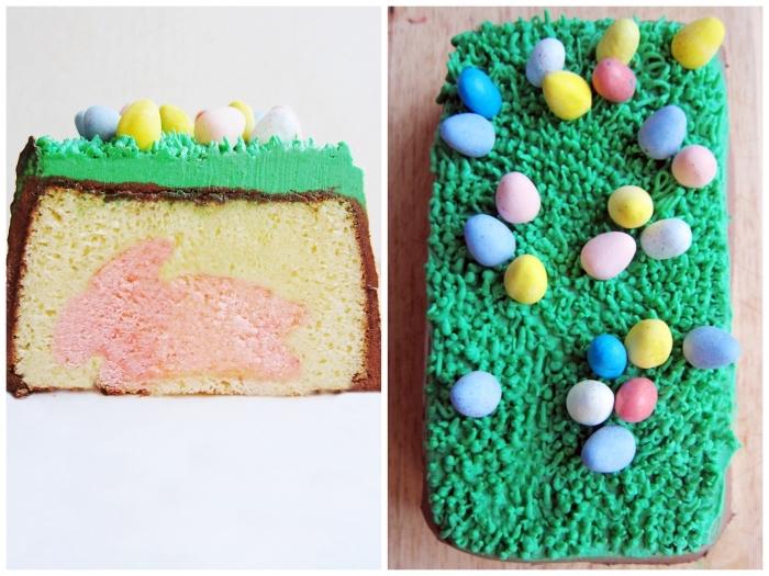dessert de paques original, gâteau au yaourt avec lapin rose à l'intérieur recouvert de ganache au chocolat et de crème au beurre coloré vert