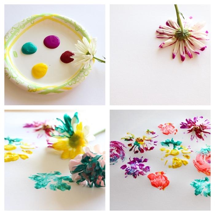 technique de dessin originale, dessiner avec des empreintes de fleurs trempées dans peinture colorée