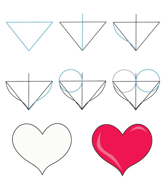 cómo dibujar un corazón fácilmente a partir de un triángulo paso a paso, corazón coloreado en rojo