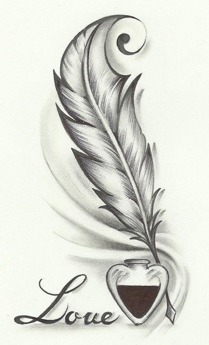 l amour qui inspire à écrire, image de plume et encre et le mot amour, image style graphique, dessin facile a reproduire