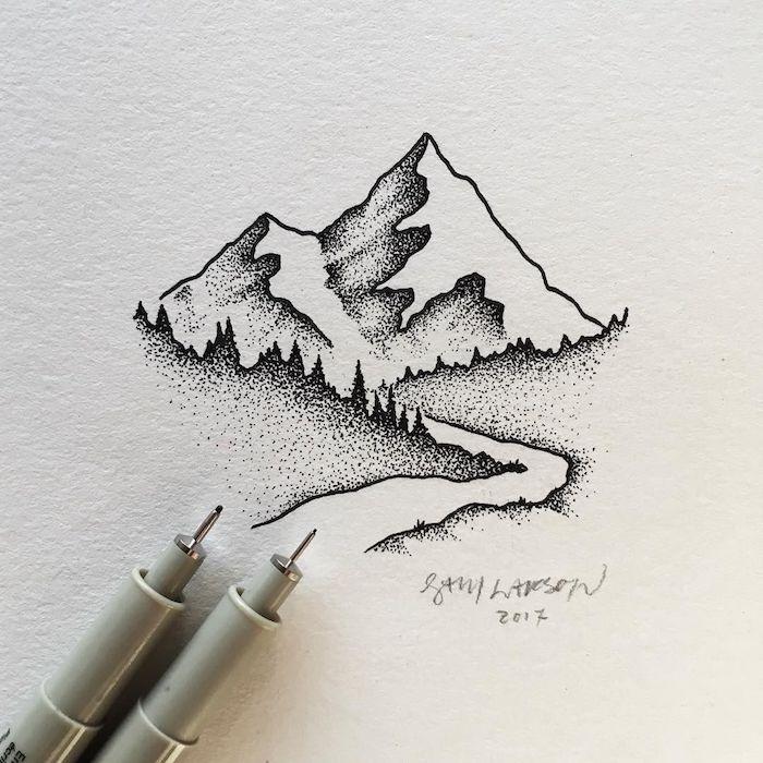 Idee dessin noir et blanc de montagnes ou coloriage paysage hiver, beauté de la nature en dessin, riviere et arbres