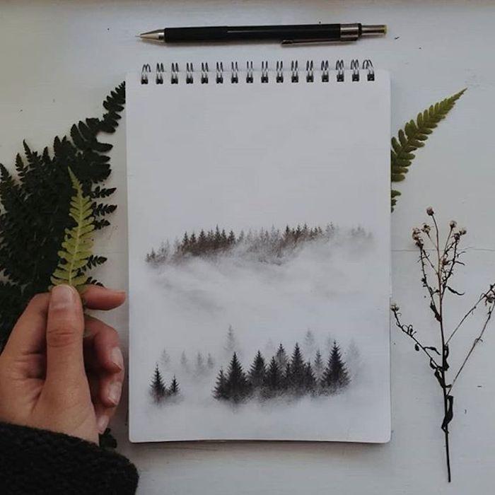 Simple idée commend dessiner des arbres enneigés, faire un pochoir de feuille, dessin facile et beau, image paysages de printemps