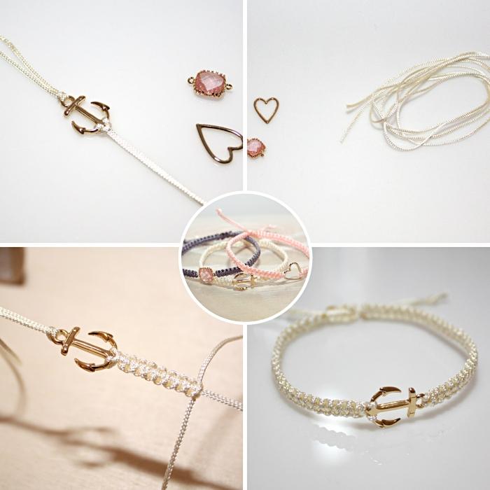 modèle de bracelet fait main avec des noeuds plats macramé, diy bracelet en corde blanche avec ébauche motifs ancre doré
