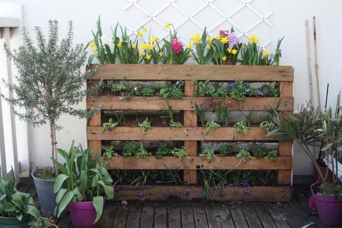 un jardin urbain contemporaine aménagé sur un balcon avec une jardiniere palette recyclée, une jardinière verticale fleurie
