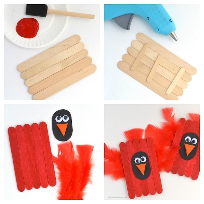 tutoriel bricolage avec batonents de glace pour faire un poussin aux ailes de plumes rouges, bec en papier orange et des yeux mobiles