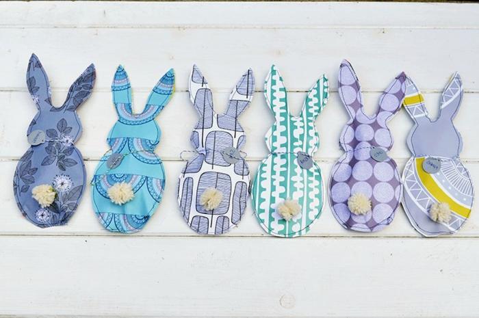 silhouettes de lapins en textile, bricolage de paques pour adultes, six lapins à motifs différents