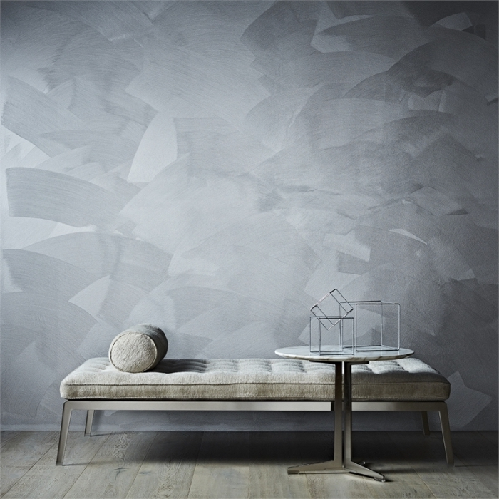 quelle peinture sablée pour un salon, décoration pièce aux murs gris à effet sablé, exemple salon gris clair et kaki