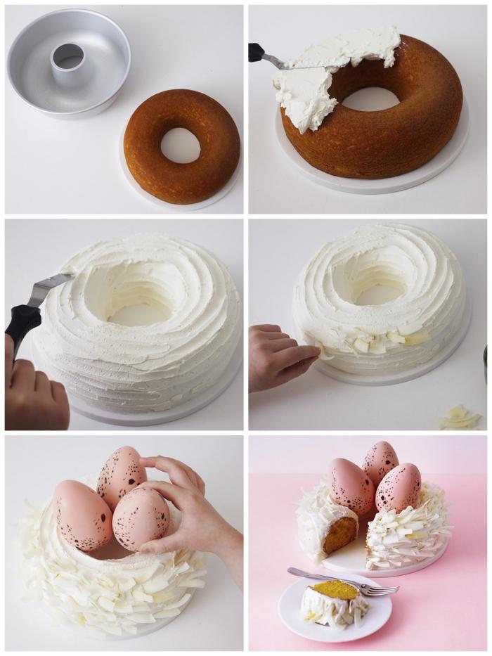 tuto pour monter un gateau nid de paques facile au glaçage de crème au beurre décoré d'oeufs moulés en chocolat
