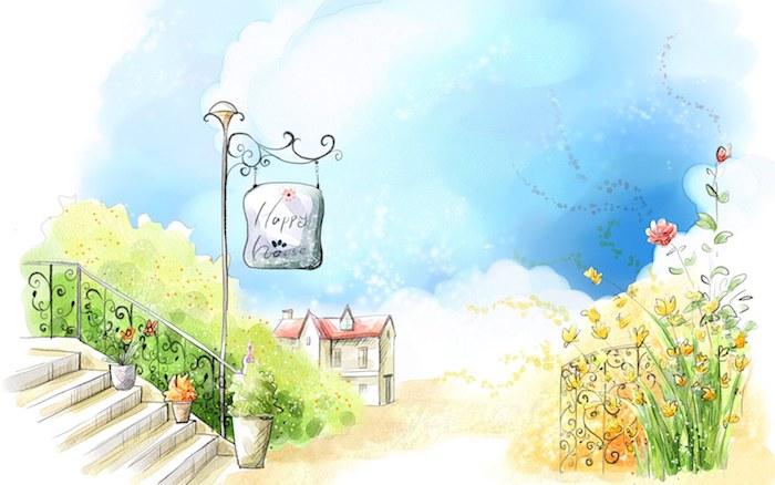 Paysage de ville inconnue, la maison joyeuse, montagnes dessin, comment faire soi meme un dessin de paysage jardin et maison