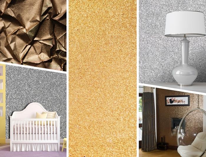 idée peinture gris pailleté pour une chambre fille aménagé avec accessoires roses et jaune, modèle de salon au mur glitter