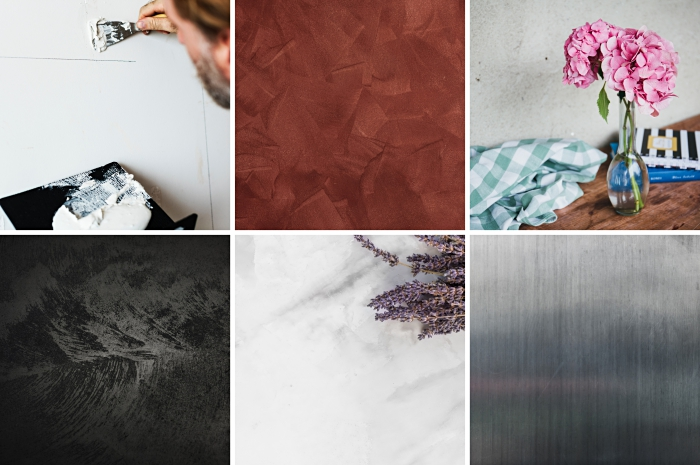exemple de peinture effet beton dans un salon aménagé avec meubles bois brut, revêtement mural à effet sablé