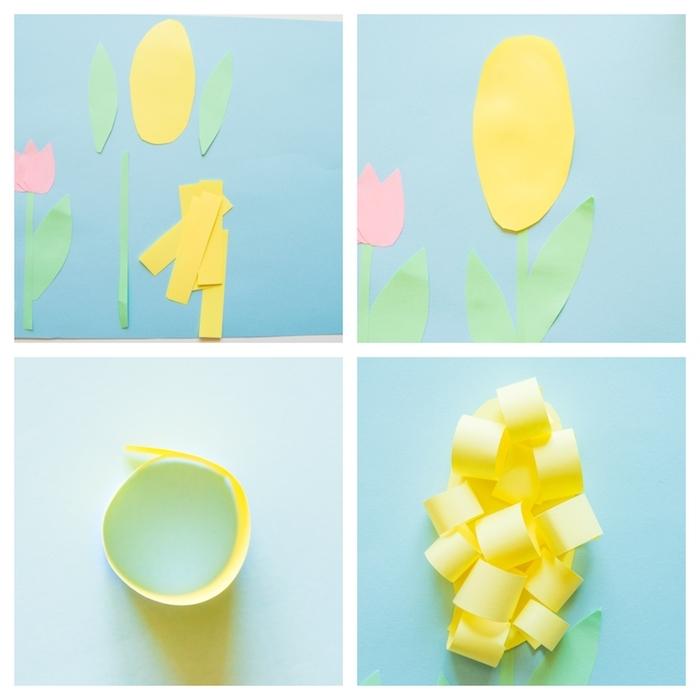 comment faire une fleur jacinthe en ppaier jaune et tiges et feuilles de papier vert sur fond bleu, printemps maternelle activité