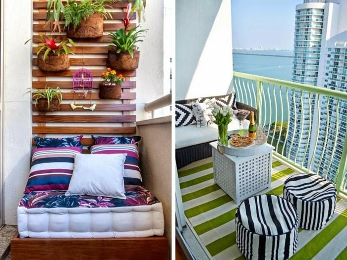 quel aménagement balcon étroit avec mur végétal en palette, coin lecture en matelas, canapé et tabourets motif zebre, tapis à rayures en vert et blanc