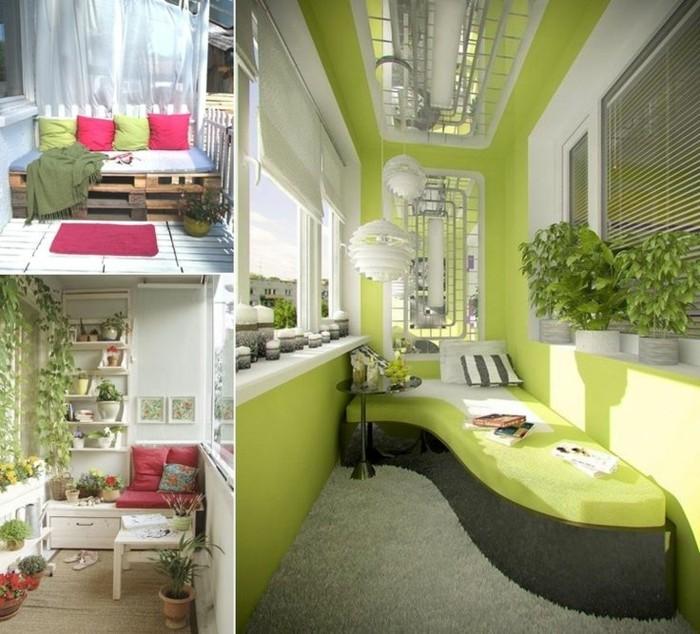 terrasse design avec canapé et murs en vert pistache, canapé en palette et en bois vlanc, coussins deco, decoration florale