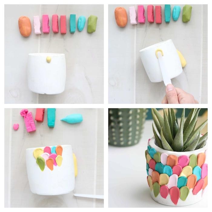 cache pot de fleur décoré de pâte à modeler colorée, activité manuelle primaire et idée cadeau fete des meres diy