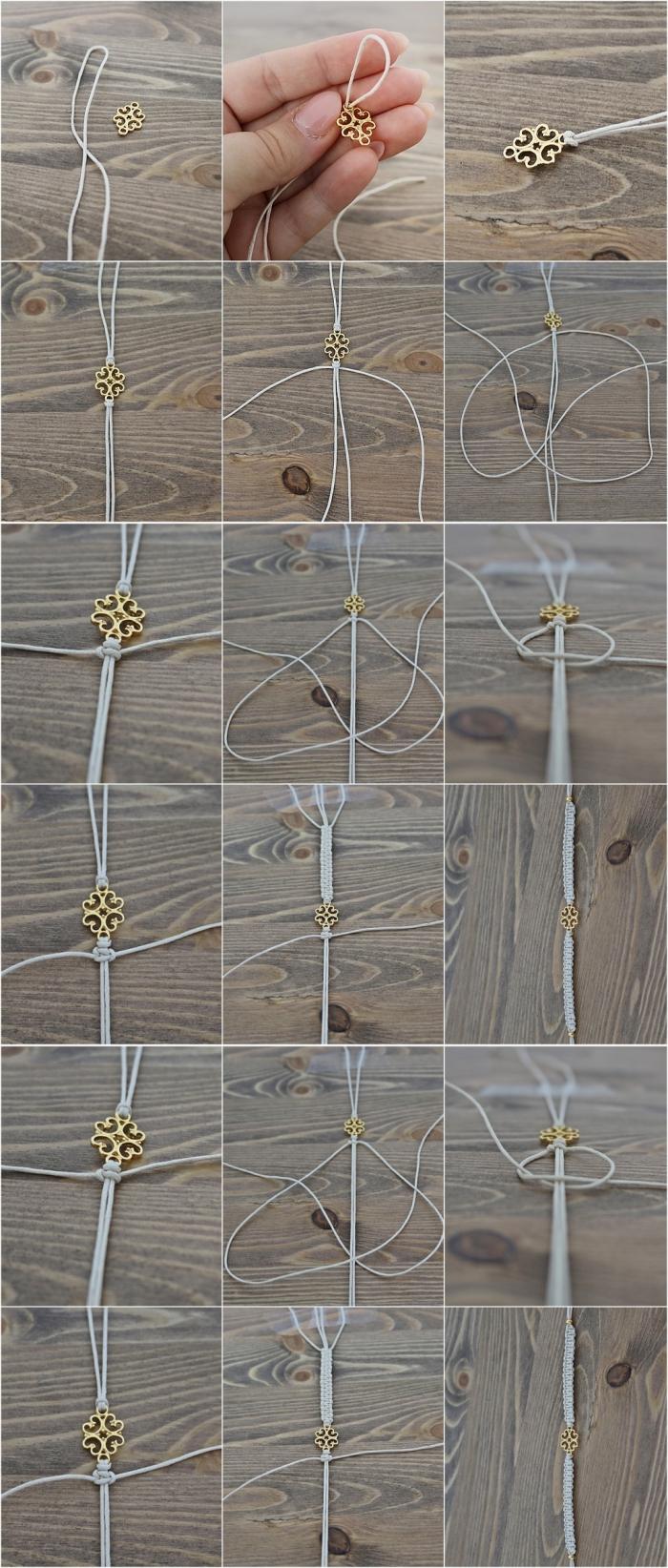pas à pas noeud macramé, modèle de bracelet en fil gris avec ornement doré, comment réaliser des bijoux macramé,