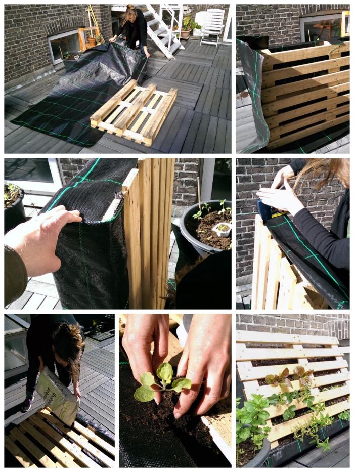 tuto pas à pas pour fabriquer sa propre jardiniere palette pour y faire pousser des aromatiques et des légumes