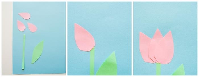 tulipe en papier, comment faire une fleur en papier, pétales roses, tige verte sur fond bleu, fleur étape par étape