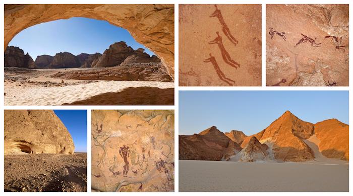 Faits pour les piscines étonnantes, Égypte dessins dans la grotte des nageurs, sable dans le désert
