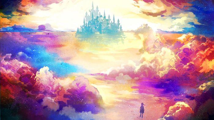 Fantasie castel comment dessiner un paysage dans les nuages colorés, idée dessin de paysage magique