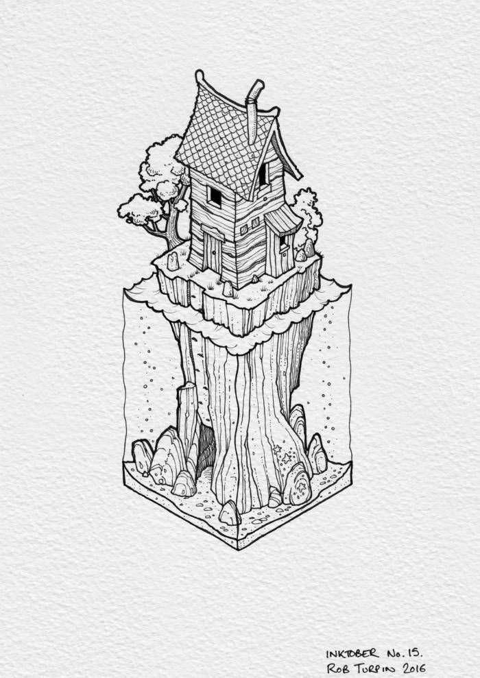 Jolie photo de dessin facile à faire, perspective dessin imagination, idée paysage beau, maison dans les arbres urbain dessin