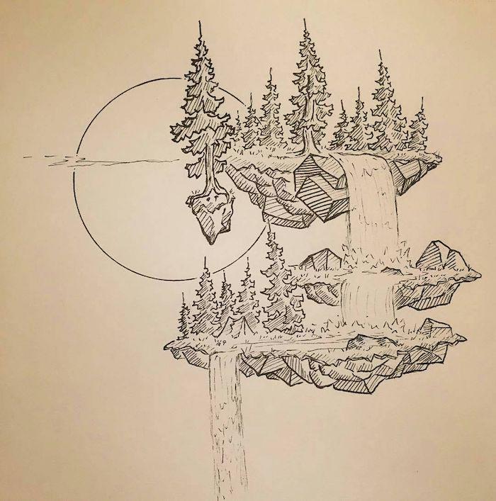 Magnifique terre imaginée, chute d'eau, tente dans la foret, paysage dessin facile et beau, dessin abstrait art