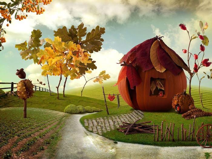 montagnes et champs dessin coloré, maison de citrouille, comment faire soi meme un dessin de paysage