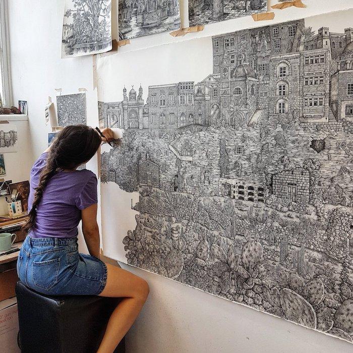 Femme dédiée à ses dessins réalistes, mais imaginés, architecture dessin beau, image de dessin beau