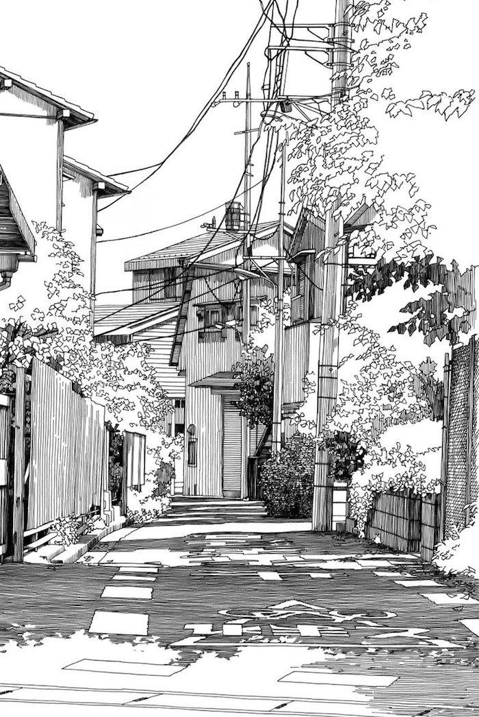 Tokyo rue dessin stylisé, le meilleur dessin mer, dessin facile et beau, la plus belle ville du monde
