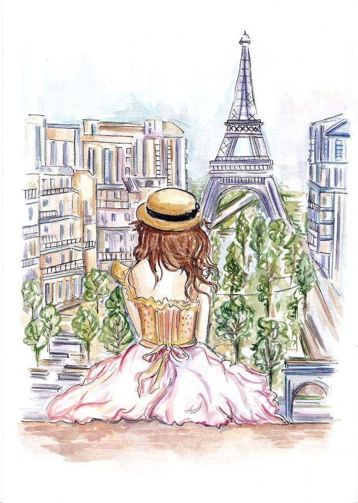 Fille à Paris, belle robe, regarder la tour Eiffel de Trocadéro place, dessin en perspective, dessin facile et beau que dessiner