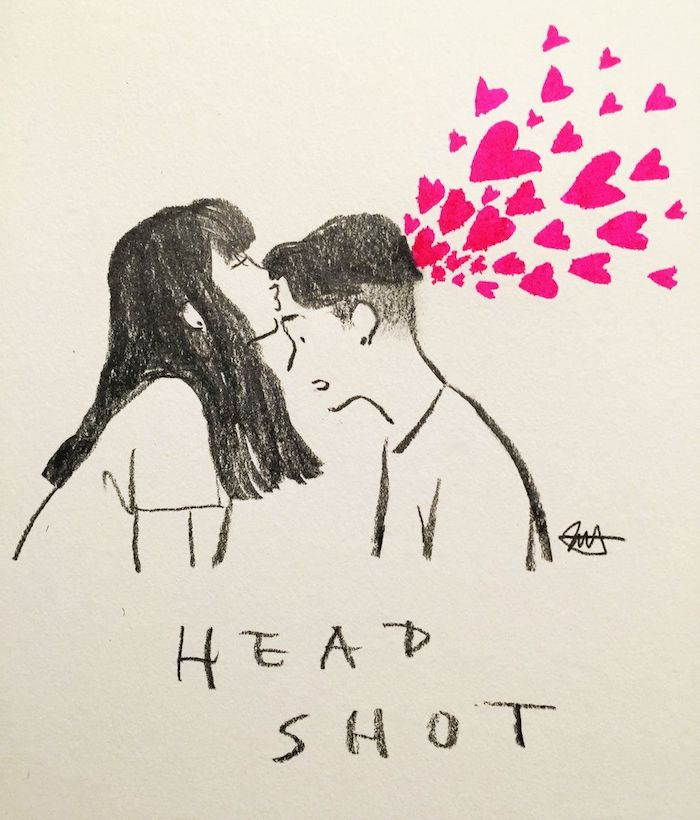 dessin fille et garçon au crayon et es coeurs roses qui s'envolent dans l air, dessin de deux personnes qui s aiment