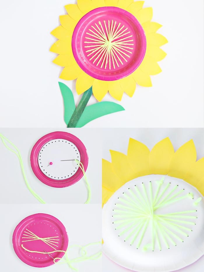 tournesol en assiette de papier et bordure de papier jaune, comment fair une fleur soi meme, bricolage etape par etape