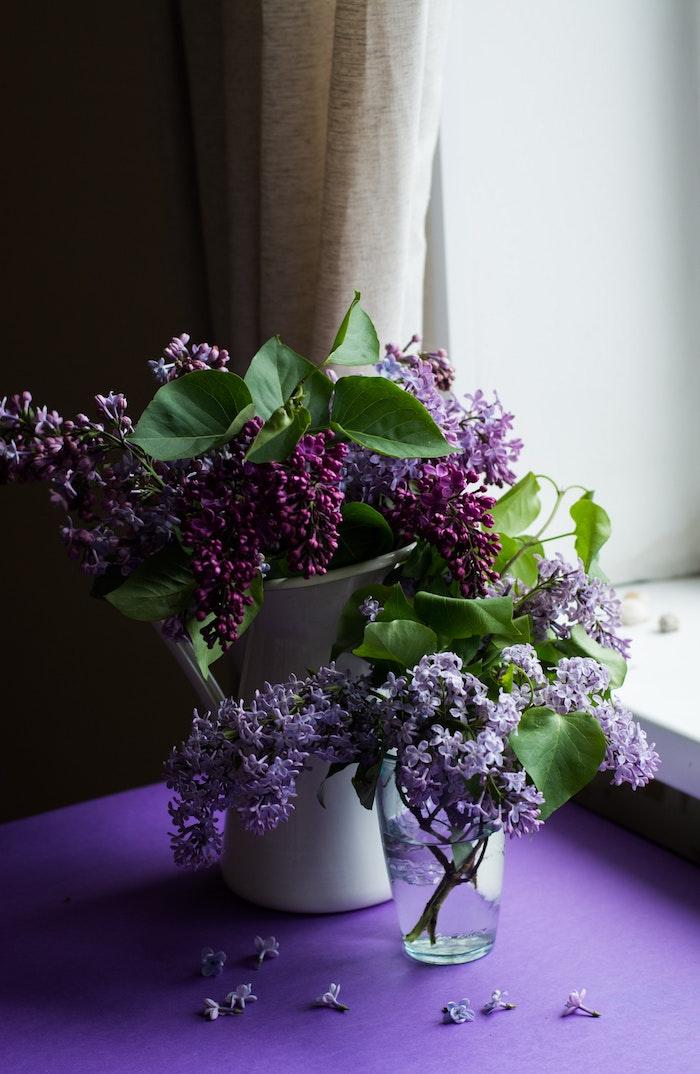Bouquet de fleurs de printemps, vase de syringa violet, fenetre et rideau, table violet, idée image à envoyer poue la fete des paques, image de pâques, carte joyeuses pâques
