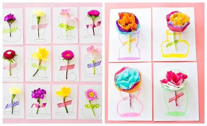 fleur naturelle ou fleur de papier de soie dans un vase dessiné au feutre, fleur attachée à l aide d une bande de wahi tape