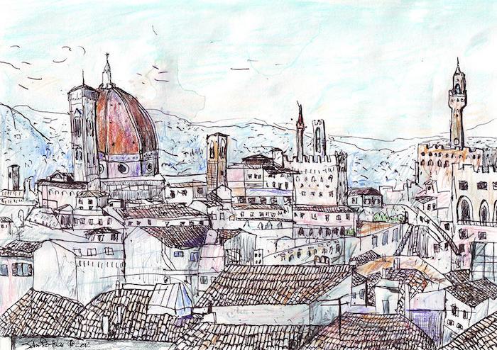 Dessin des bâtiments medieval de Florence, dessin facile et beau, essayer le style de dessin artistique