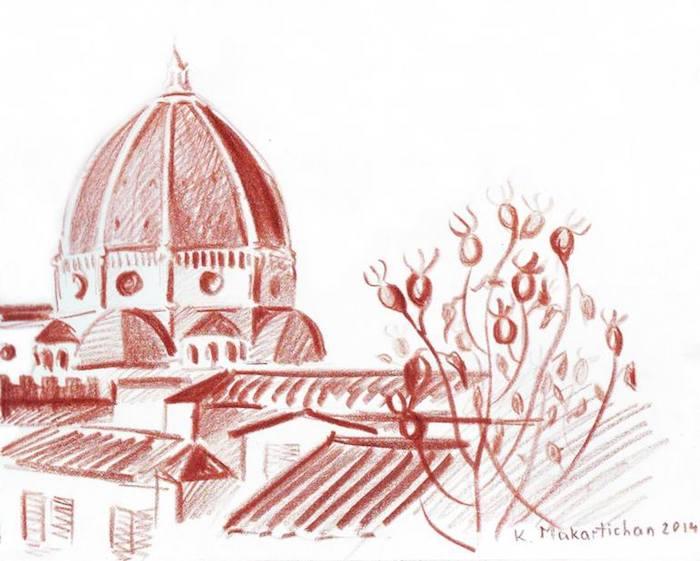 Florence cathédrale et arbre fleurie en avant plan, idée dessin les plus belles villes du monde, dessin facile et beau