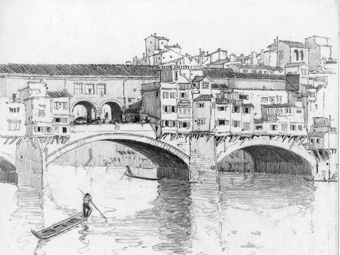 Le ponte veccio à Florence, dessin difficile mais très beau, les dessins pour les professionnels, rivière et gondolier